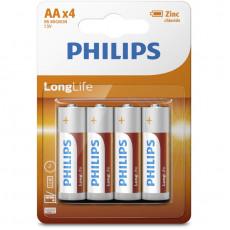 PHILIPS R6L4B/10 LONG LIFE ZINC-CHLORIDE 4ΤΜΧ Μπαταρίες